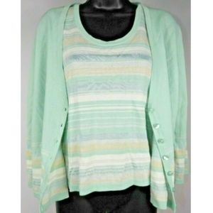 Kasper Striped Tank Top and Cardigan Sweater